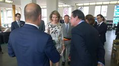 Queen Mathilde of Belgium visits the exhibition Work/Travail/Arbeid by Anne Teresa De Keersmaeker in collaboration with Rosas at the contemporary art center Wiels in Brussels on May 8, 2015.