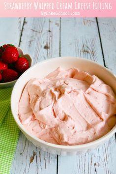 Strawberry Frosting Recipes, Strawberry Cream Cheese Filling, Homemade Strawberry Cake, Strawberry Cakes, Strawberries And Cream, Strawberry Filling For Cupcakes, Cupcakes With Cream Cheese Filling, Cupcake Filling Recipes, Strawberry Whipped Cream Cake
