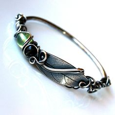 Sterling Silver Bangle Oxidized Fine Silver by ClairePearse, $159.00