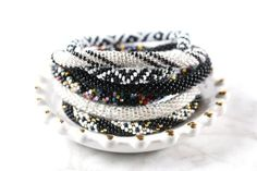 Nepal Glass Beaded Bracelets | Blacks & Whites