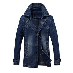 Vintage Single Breasted Lapel Collar Solid Color Mid Long Denim Jacket for Mensales-NewChic Mobile