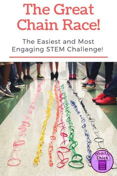 Need an engaging yet low prep STEM Challenge? Look no further than The Great Chain Race STEM Challenge! The best activities are short, simple and effective! This STEM Challenge is amazing and perfect for any grade level! Steam Activities, Math Activities, School Age Activities, Classroom Team Building Activities, Teambuilding Activities, Math Enrichment, Stem Classes, Stem Science, Math Stem