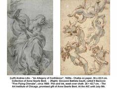 "Andrea Lilio (1620s) ""An Allergory of Confidence"" (Left) Giovanni Battista Gaulli (1685) ""Five Flying Cherubs"" (Right)"