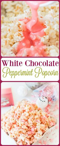 It's the holidays and you need something simple to pack up for teachers or to snuggle up and eat for movies like this white chocolate peppermint popcorn. Peppermint Popcorn Recipe, Flavored Popcorn, Popcorn Recipes, Snack Recipes, Dessert Recipes, Gourmet Popcorn, Desserts, Easy Recipes, Snacks To Make