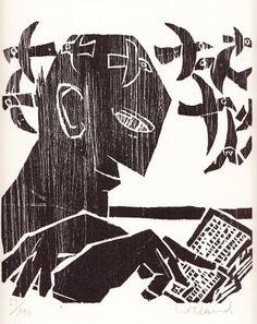 Detlef Willand – Der Leser I; Holzschnitt