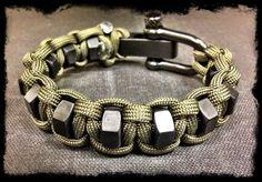 Adjustable paracord hexnut bracelet by TacticalBlackRDS on Etsy https://www.etsy.com/listing/128999946/adjustable-paracord-hexnut-bracelet