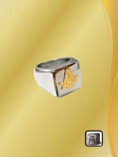 Anillo de Acero con Logo Dorado Logan, Rings For Men, Jewelry, Steel, Rings, Men Rings, Jewlery, Bijoux, Jewerly