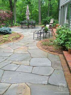 Landscape Design Services, Inc Flagstone Walkway, Bluestone Patio, Concrete Patio, Slate Patio, Garden Oasis, Lawn And Garden, Front Yard Patio, Backyard Patio Designs, Home Landscaping