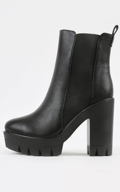 Simple and sleek chunky lug sole booties. These are too awesome.  | MakeMeChic.com