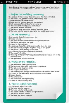 Wedding picture check list