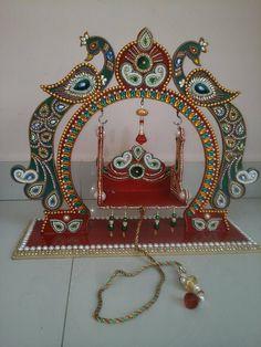 Kalash Decoration, Thali Decoration Ideas, Decoration For Ganpati, Decor Crafts, Diy Room Decor, Art Decor, Diy And Crafts, Coconut Decoration, Janmashtami Decoration