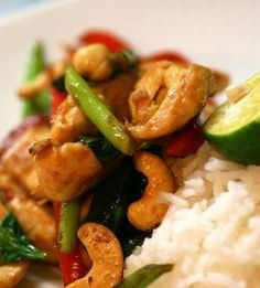 This clean-eating Thai-influenced chicken dish is super healthy and not too spicy. Just replace the white rice with brown rice :)