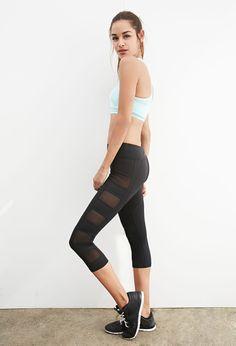 Mesh-Paneled Capri Leggings | Forever 21 - 2000134270