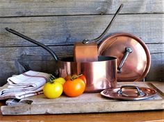 Copper Pans, French Vintage Copper and Tin Lined Cooking Pans, Copper Cooking Pots, (Set of 2) Cottage Farmhouse, Rustic Kitchen Decor, by JadisInTimesPast on Etsy