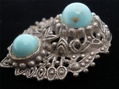 Faux Blue Turquoise Art Blass Stone Open Work Pewter Estate Dress Clip Vintage | eBay