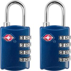 TSA Luggage Locks 2 Pack  4 Digit Combination Steel Padlocks  Approved Travel Lock for Suitcases  Baggage  Blue -- Find out more about the great product at the image link.Note:It is affiliate link to Amazon.