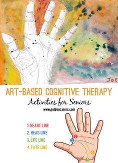 Art-based Cognitive Therapy is of great benefit and may be included in a well-being program. Residents can be introduced to watercolour and acrylic painting. In this activity, residents first create a beautiful and colorful backdrop with paint and then sketch their palms after learning about the 4 major lines of the palm.