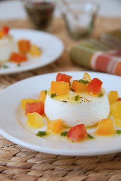 A savory panna cotta with creamy goat cheese and heirloom tomatoes in vinaigrette. Serve as an appetizer, brunch or lunch dish.
