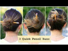 3 Quick Pencil Bun Ideas | Back-to-School Hairstyles #cutegirlshairstyles #hairstyle #hairstyles #bun #pencilbun #backtoschoolhairstyles