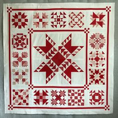 I finally finished my 2018 Fig Tree Red and Cream BOM. This is Lifetime Quilt Number 248 It finished at x The pattern. Red And White Quilts, Blue Quilts, Sampler Quilts, Star Quilts, Baby Girl Quilts, Girls Quilts, Quilting Projects, Sewing Projects, Medallion Quilt