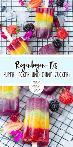 Gesundes Regenbogen Eis am Stiel ohne Zucker! – TRYTRYTRY Healthy rainbow popsicles without sugar! – TRYTRYTRY Healthy snacks for work to curb the craving for sugarThe 11 best rainbow recipesRainbow fruit skewers Summer Desserts, Summer Drinks, Summer Recipes, Baby Food Recipes, Indian Food Recipes, White Cranberry Juice, Raspberry Vodka, Frozen Yoghurt, Sugar Free Desserts
