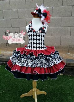 Harlequin Over-The-Top Ruffle Dress/Mini Hat/Necklace Set  Pageant dress costume- Size 5/6- READY TO SHIP by TinyTutuBoutique on Etsy