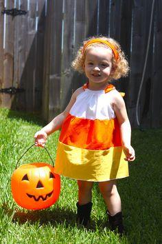 Candy Corn Dress-Fall-Halloween-Costume-Toddler Girl Infant Baby-Pillowcase Dress. $25.00, via Etsy.