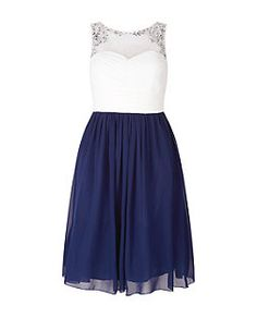 Laced In Love Navy and White Embellished Prom Dress    New Look