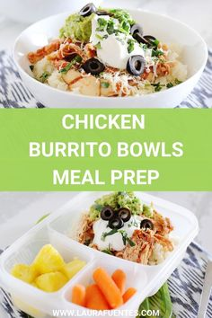 This meal prep for burrito bowls is healthy, low-carb, and delicious! From the shredded salsa chicken to guacamole and cauliflower rice, it's a meal you can feel good about eating! Burrito Bowl Meal Prep, Lunch Meal Prep, Burrito Bowls, Healthy Meal Prep, Keto Meal, Healthy Food, Healthy Eating, Healthy Recipes, Mexican Food Recipes