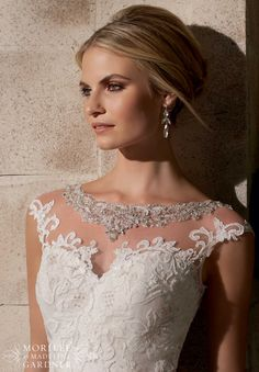 #Bridal Gowns Embroidered Appliques on Net Over Chantilly Lace with Crystal Beading - Start planning at www.myweddingconcierge.com.au