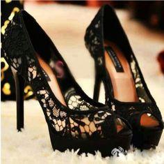 Black leave peep toe heels- gorgeous!