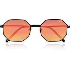 Quay Australia On A Dime Hexagonal Mirror Sunglasses ($58) ❤ liked on Polyvore featuring accessories, eyewear, sunglasses, black, mirrored glasses, hexagon glasses, octagon glasses, mirrored sunglasses and mirror glasses