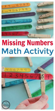 Number Math Activity - Planning Playtime Missing Number Math Activity - Planning PlaytimeMissing Number Math Activity for kids. So fun!Missing Number Math Activity - Planning PlaytimeMissing Number Math Activity for kids. So fun! Math Activities For Kids, Montessori Activities, Math For Kids, Kids Learning, Learning Games, Preschool Math Games, Numeracy Activities, Montessori Toddler, 1st Grade Math Games