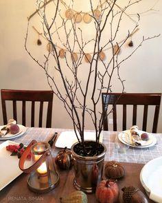 My #DIYDecor for a #DiningRoom. #Centerpiece #More  renatasiman.com - Blog. #Grateful #ThanksgivingDecor #HappyThanksgiving #GiveThanks #DIYGarland #RusticGarland #HelloFall #EasyDecor #HomeDecor #BeautifulDecor #TreeBranch #CreativeDecorating #Pinecones #JuteRope #JuteGarland #WelcomeFall RENATA SIMAN - THE WOW HOUSE©  #TableDecor #Tablescape #Pumpkins #ThanksgivingTable #HolidayStyling #HomeStyling #InteriorStyling #HomeStylist #InteriorStylist #RenataSiman #TheWowHouse
