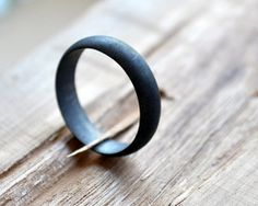 Black Wedding Band Mens Oxidised Ring Modern by Epheriell on Etsy, $77.00
