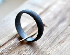 Black Wedding Band Mens Oxidised Ring Modern by Epheriell on Etsy, $77.00