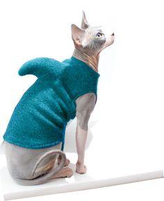 The Shark Tank Sphynx Cat Sweater - Shark Week - Halloween Costume - Cat Shark Costume - Sphynx Cat Clothes - Pet Shark Sweater by SimplySphynx