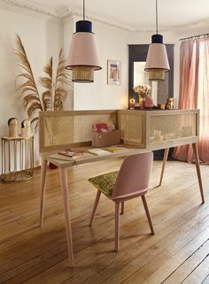 Make a desk for two people - New Deko Sites Furniture Inspiration, Home Decor Inspiration, Home Office, Office Decor, Diy Furniture, Furniture Design, Interior Architecture, Interior Design, Boho Home