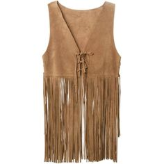 P.A.R.O.S.H. Mindy Fringed Waistcoat (355 CAD) ❤ liked on Polyvore featuring outerwear, vests, jackets, tops, brown vest, leather waistcoat, genuine leather vest, brown leather vest and fringe vests