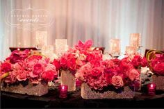 Pink and Bling Centerpieces Follow more of this trend at http://www.arizonaweddings.com/
