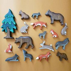 The Animals, Forest Animals, Woodland Animals, Wooden Animal Toys, Wood Animal, Wooden Playset, Fox Toys, Handmade Wooden Toys, Wooden Car