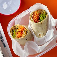 Spicy Peanut, Carrot, and Snap Pea Wraps This easy wrap is perfect for when refrigeration isn't available.