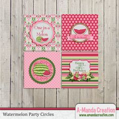 Watermelon Party Printable Party circles, these make awesome cupcake toppers or tags.
