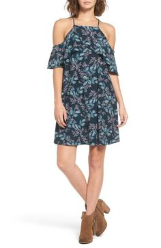 Floral Print Cold Shoulder Shift Dress
