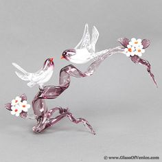 Murano Glass Birds on Cherry Branch - Amethyst