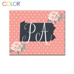 Pennsylvania State Printable ArtPink and White by ColorPrintables, $5.00