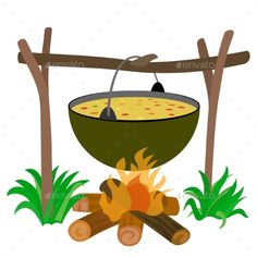 Buy Kettle of Soup in Campfire by ikuvshinov on GraphicRiver. Kettle of Soup in Campfire – Stock Illustration Abc Soup, Early Humans, Banner Printing, Sensory Bins, Drawing For Kids, Image Photography, Food Art, Kettle, Painted Rocks