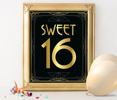 """Printable sign """"Sweet 16"""". Perfect art deco style decoration for Great Gatsby, Jazz age, Roaring 20s, Hollywood Glam or any other vintage themed birthday party. This is a digital product (no physical item will be shipped). Get high quality files immediately and print them at your home, office, or local or online print shop. No waiting, no shipping fees. You can print as many copies as you need for personal use (not commercial).  Looking for a different number? Please click here…"""