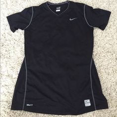 Nike Pro Fitted Shirt Super comfy, stretchy, fitted Nike workout shirt, exposed grey stitching around seams for contour, size L. Nike Tops Tees - Short Sleeve