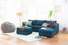 """De nuestros modelos más vendidos """"TOOT"""". Perfecto y cómodo para cualquier espacio. Love Sac Sectional, Lovesac Couch, Sectional Couches, Pit Sofa, Comfy Couches, Home Living Room, Living Room Furniture, Living Room Designs, Crate Furniture"""